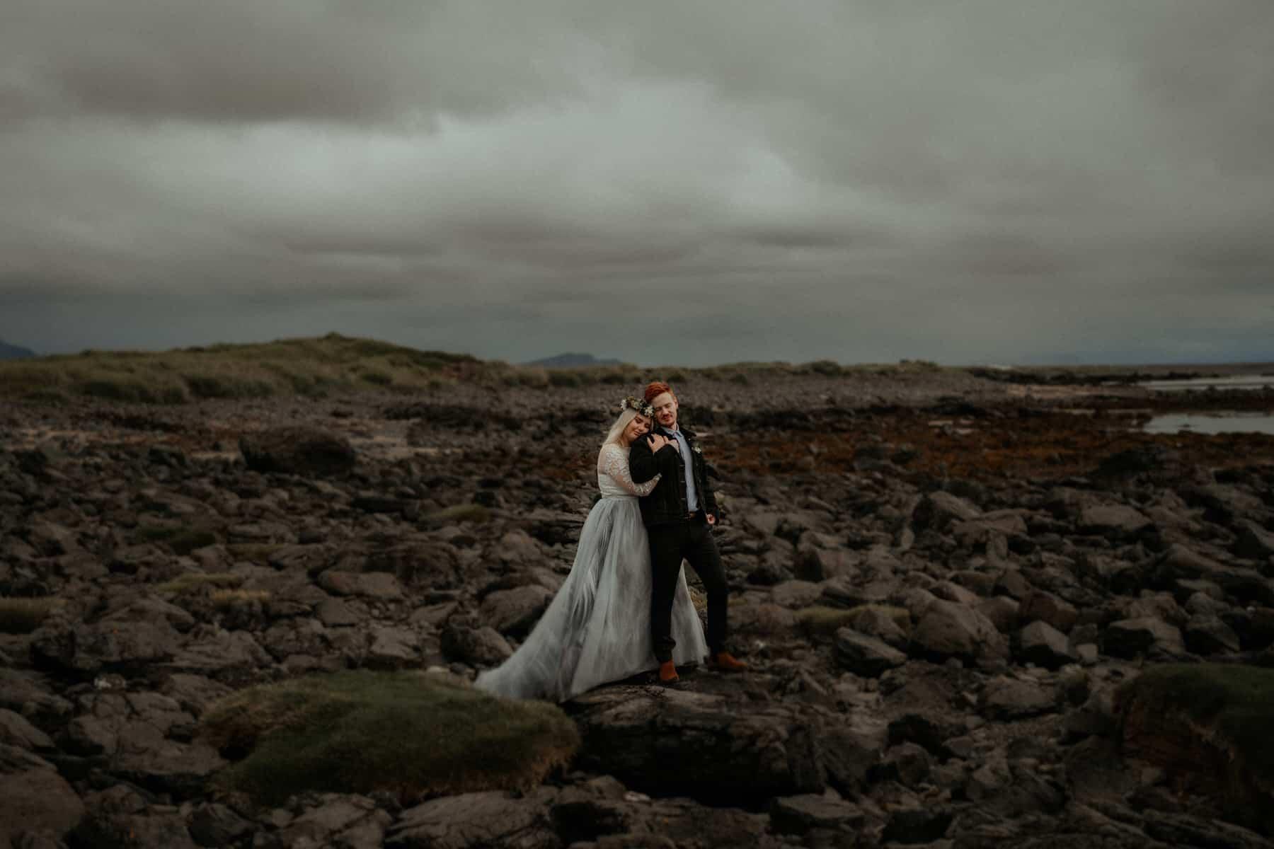iceland black rocks elopement